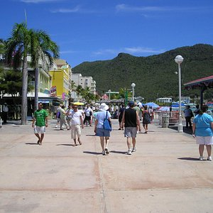 view of the walk and beach