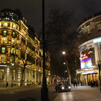 The Playhouse Theatre area at night.