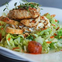 celery and apple salad with grilled chicken and herb croutons