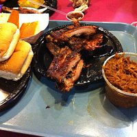 Ribs, pulled pork and cornbread