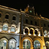 Rossio Station at night