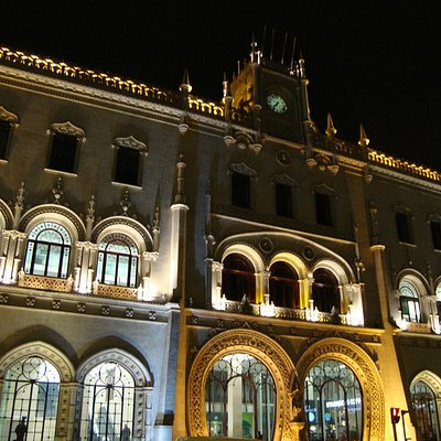 Rossio Station at night