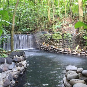 Ecotermales hot spring waterfall, great for a natural massage