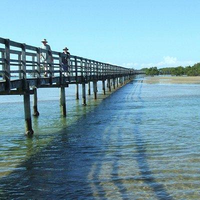 Walking across the lagoon