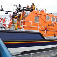 Cromer Lifeboat being winched back up ramp