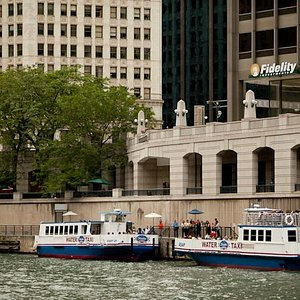 Shoreline Sightseeing's Water Taxi stop at Michigan Ave