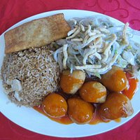 Sweet and sour chicken balls, chow mein, fired rice.