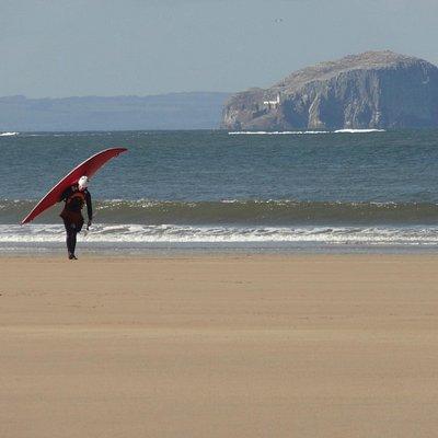 Surfer on Belhaven Beach