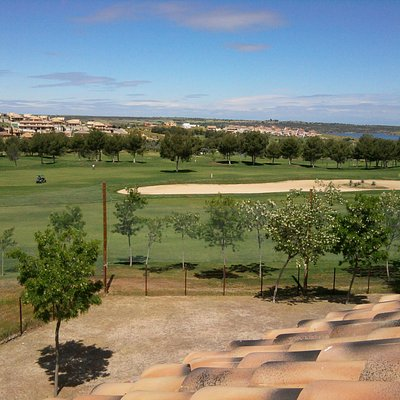 A view of the 18th fairway and its giant bunker from the Layos Golf Hotel alongside