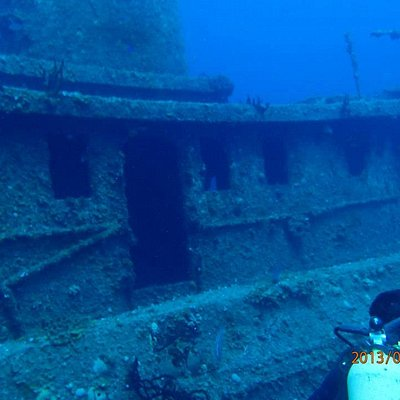 Sunken wreck for diving.
