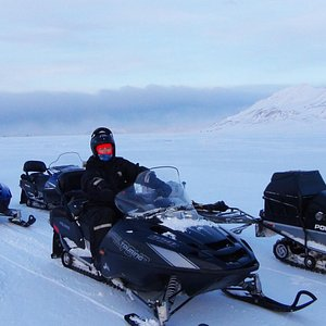 On the snowmobile, just out of Longyearbyen