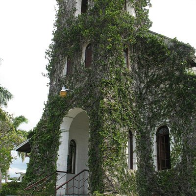 Ivy covered facade of Our Lady of Perpetual Help Church, St. Ann's Bay, Jamaica