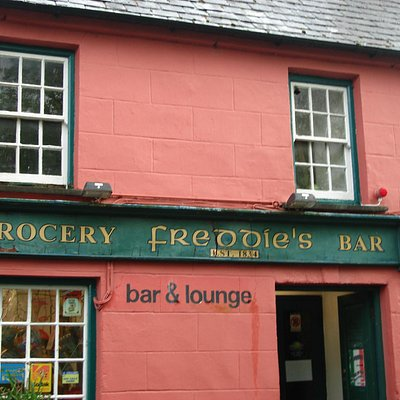 Exterior of Freddies Bar and shop