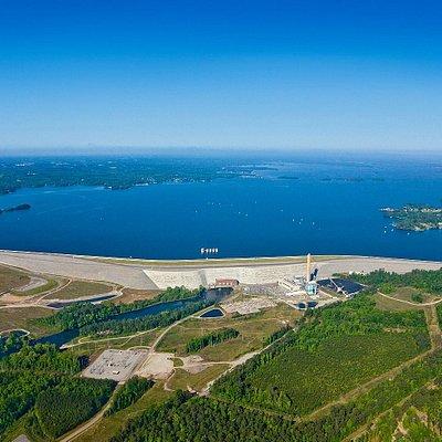 Arial view of Lake Murray and Lake Murray Dam