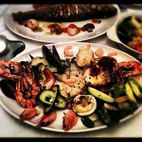 the seafood platter (sea bass in the back shot).