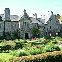 side view of Cotehele and garden