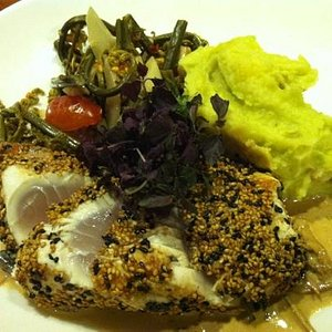 seared Ono in a ginger sauce with fiddlehead deem shoots and wasabi mashed potatoes - delish!