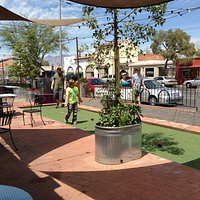 Bocce ball court and a view of 4th Ave.