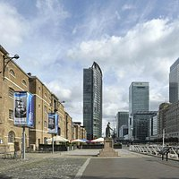 West India Quay against the backdrop of Canary Wharf