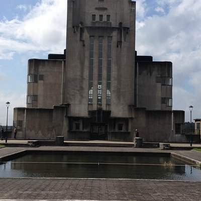 """The radio """"cathedral"""" in front"""