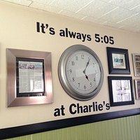 Charlie had a clock set to 5:05