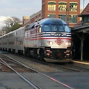 A VRE Trains pulls into the Manassas Train Station