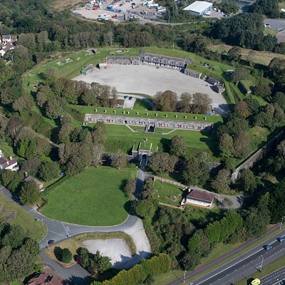 An aerial image of the site