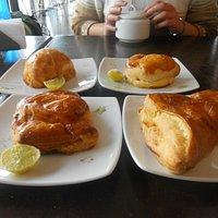 Four kinds of empanadas at Don Esteban & Don Pancho's cafe on Avenida el Sol in Cuzco