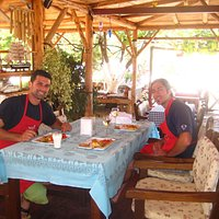 Hüseyin (the owner) and I enjoying the meal