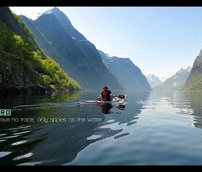 Paddle kayak on the beautiful fjords of Norway