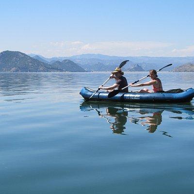 Active adventure kayaking at Lake Skadar