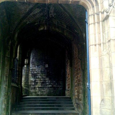 Mysterious steps up to the Bradford Cathedral made out of York Stone