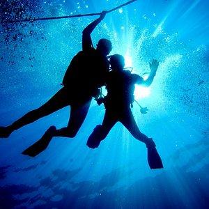 Scuba Divers in the Blue of Cabo de Palos Ocean