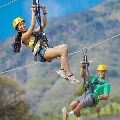 All ziplines are side by side so two friends can enjoy the ride together