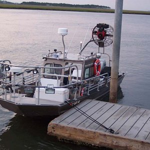 The Flounder Barge ready to go Flounder Gigging