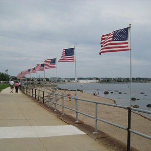 Gloucester center with flags