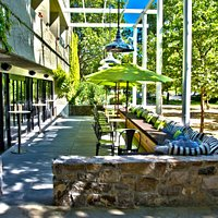 Our outdoor patio, perfect for sipping wine on a sunny day