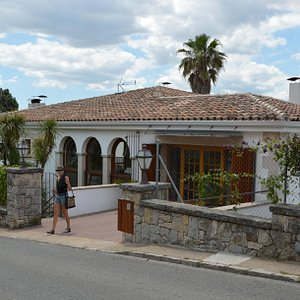 The villa from the street, valley on the opposite side