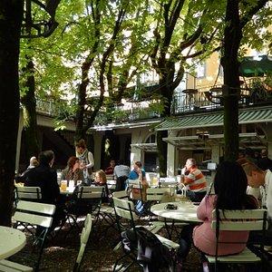 Relaxing beer garden
