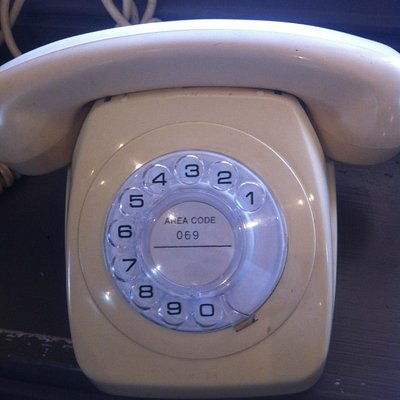 One of the old phones displayed at the Telegraph Station