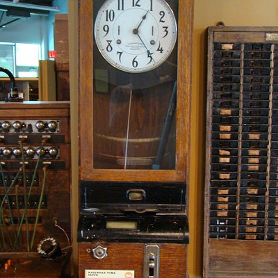 Original Railroad Time Clock at the Knight Museum and Sandhills Center.