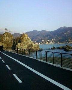 Dalla pista ciclabile vista panoramica con porzione di Levanto sullo sfondo (Villa Agnelli e sco