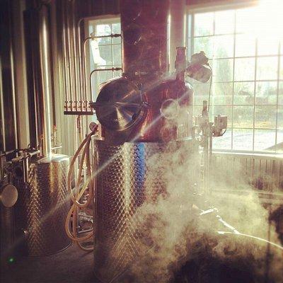 Distilling is hot work.