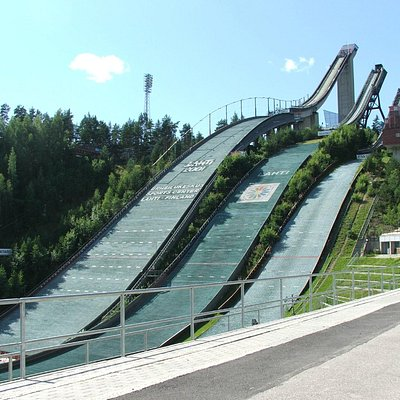 Ski Jumping towers. You can visit the tallest one, during summer time.