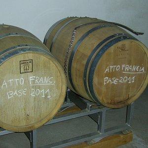 Barriques of prestigious Franciacorta sparkling wine