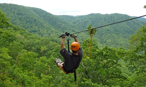 Enjoying the amazing views of the Green River Gorge from The Gorge Zip Line Canopy tours, which