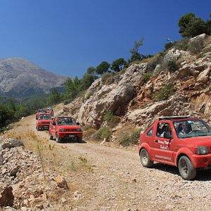 safari on mountain road