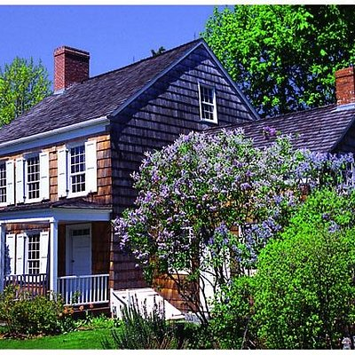 The Birthplace with lilacs in full bloom.