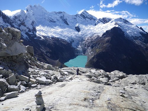 The view from Moraine camp on Alpamayo.  Elodio our cook helped carry gear up to this camp