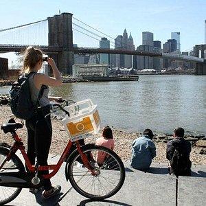 Bike to Brooklyn Bridge Park to enjoy the view on Manhattan